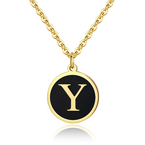 REVEMCN Stainless Steel Alphabet and Bible Verse Proverbs 4:23 Pendant Necklace for Men Women with Keyring and 22'' Chain (Gold-Tone: Y)