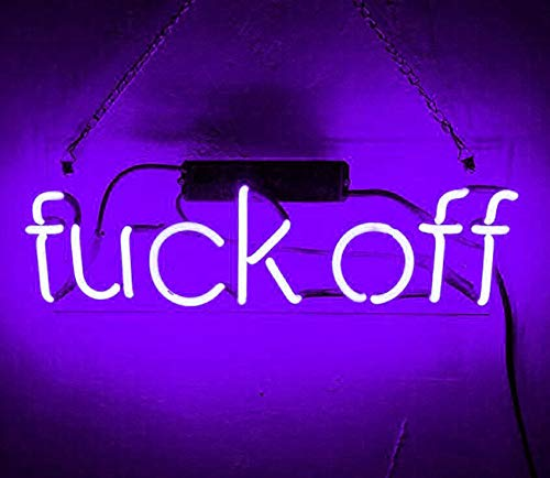 Fvck Off Real Glass Beer Bar Pub Store Party Room Wall Windows Display Neon Signs 14x7