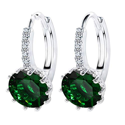 925 Sterling Silver Cubic Zirconia Crystal Classic Round Earrings for Women ()