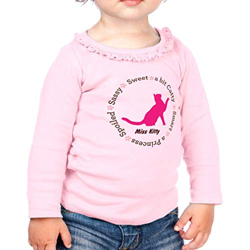 Price comparison product image Personalized Custom Miss Cat Sassy Sweet a bit Catty Smart Cotton Girl Toddler Long Sleeve Ruffle Shirt Top Sunflower - Soft Pink,  6 Months