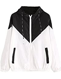 Women's Color Block Drawstring Hooded Zip up Sports Jacket Windproof Windbreaker