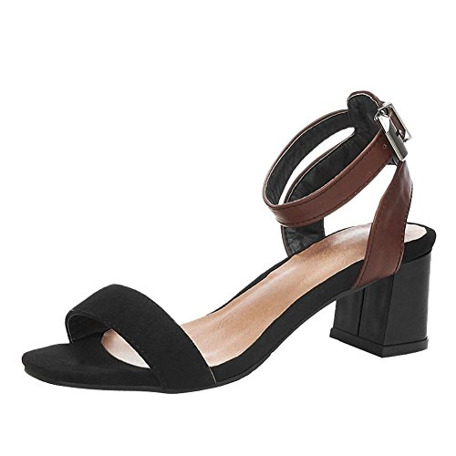 Carolbar Womens Ankle Strap Buckle Simple Fashion Mid Heel Sandals Black
