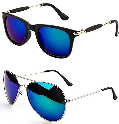 3de5fcb2c89 Sheomy Unisex Combo offer Pack of UV Protected Stylish Wayfarer Sunglasses  For Men Women Boys   Girls (BigBBlue-BM