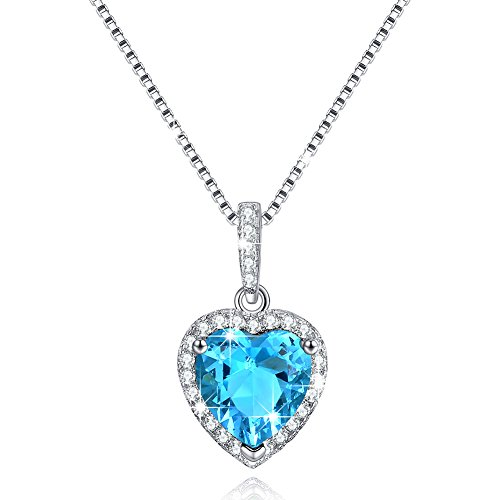 Love Heart Necklace March Birthstone Blue Aquamarine Swarovski Elements Pendant Necklace for Girlfriend