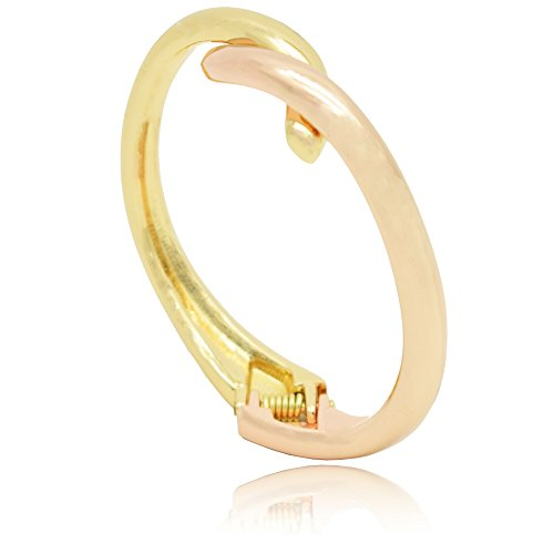 ilver Gold Metal Cool Style C Cuff Bangle Can Open Polished Finish Bracelet for Women Gold and Rose Gold (14k Heavy Charm Bracelet)