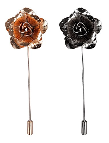 2 PCS Men's Rose Golden Flower Lapel Stick Brooch Pin for Sui,Gold/Sliver (Black-Gold)