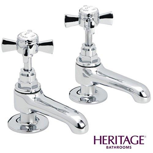 Heritage Dawlish 1/2' Basin Pillar Taps Quarter Turn CD in Chrome TDCC00 (Pair) Heritage Bathrooms