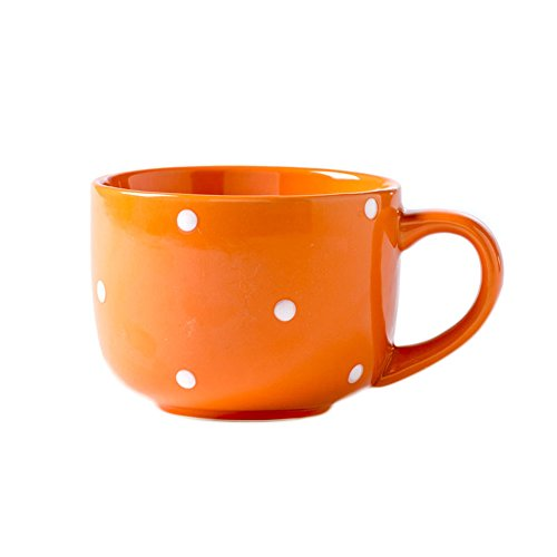 CHOOLD Large Ceramic Coffee Mug Polka Dot Milk Cup Tea Cup Jumbo Mugs Soup Bowl with Handle for Couple 15oz(Colorful) (Mugs Jumbo Coffee Soup)