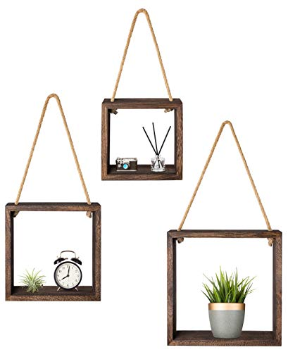 Mkono Hanging Square Floating Shelves Wall Mounted Cube Display Shelf Rustic Shadow Boxes Decorative Storage Organizer for Home Office Coffee Shop, Set of 3, Brown