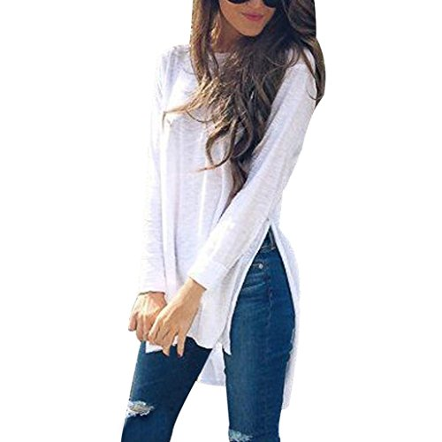 Women Summer Tops Duseedik Short Long Sleeve T-Shirt O-Neck Pure Color Irregular Loose Side Slit Blouse Tee Tunic White