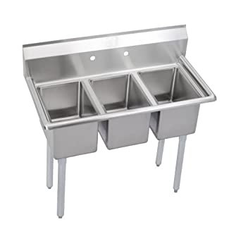 Standard 3-Compartment Deli Sink, no drainboard: Triple