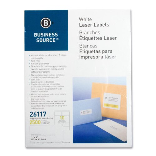 - Business Source Products - Mailing Labels, Shipping, Laser, 2amp;quot;x4amp;quot;, 2500/PK, White - Sold as 1 PK - Use labels to address envelopes and packages. Labels are archival-safe, acid-free and lignin-free, and feature permanent adhesive. Sheets of labels are compatible with laser printers only and will not jam.