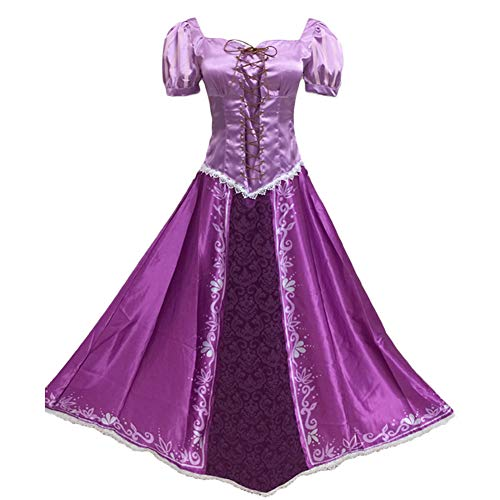 Fanstyle Halloween Costumes Tangled Rapunzel Cosplay Dresses Princess Lepe Purple Dress]()
