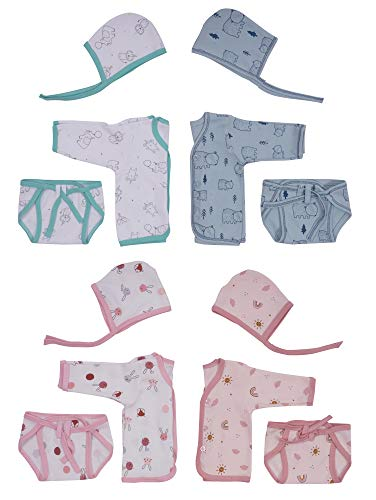 CUTELANDINGS™ Set of 4 New Born Baby Hosiery Cotton Jhabla/Shirts with 4 Nappies/Langot and 4 Caps (0-3 Months)