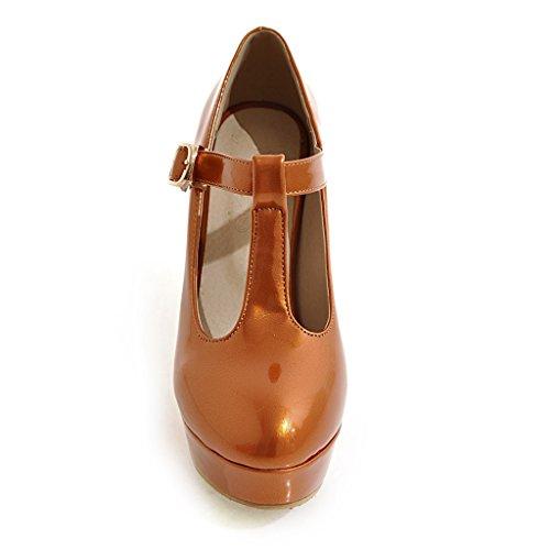 Schuhe Strap T Orange Blockabsatz Heels Pumps Damen Geschlossen Riemchen mit Plateau High YE Elegant 71qxSRwp