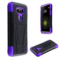 LG G5 Phone Case , [ Storm Buy ] Premium Hard & Soft Sturdy Durable Shockproof Rugged Shell Hybrid Protective [ Anti Scratch ] Phone Case Cover with Built in Kickstand (Purple)