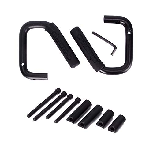 (oEdRo Front Grab Handles fit for Jeep Wrangler JK JKU Sports Sahara Freedom Rubicon X & Unlimited X 2 Door 4 Door 2007-2018 Black Solid Steel Grab Roll Bar (Front Grab Handles))