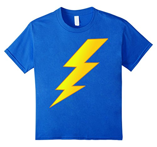 [Kids Lightning Bolt last minute Halloween costume shirt 6 Royal Blue] (Last Minute Awesome Halloween Costumes)