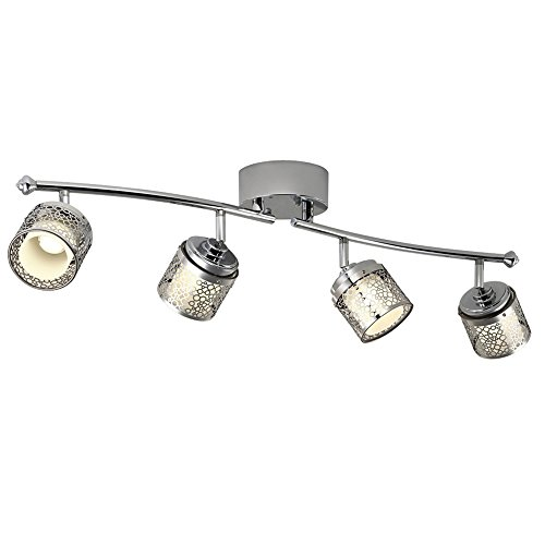 Catalina Lighting Eyerly 4-Light 30-inch Chrome Dimmable Fixed Track Light Kit, LED Bulbs Included, 19548-000