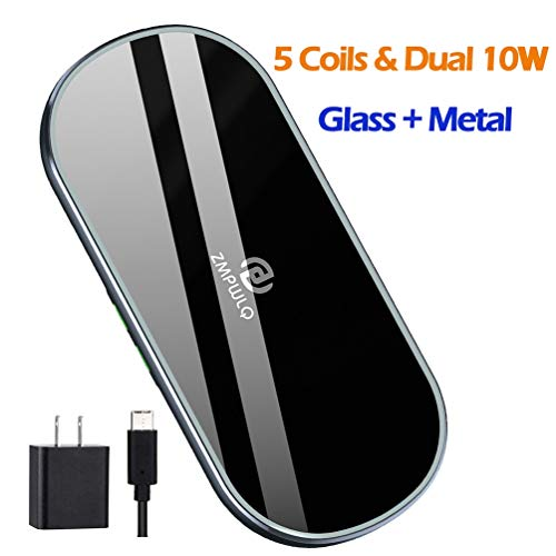 Dual Wireless Charging Mat Fast Wireless Charger iPhone Wireless Charging Pad Station Qi 5 Coils 10W Large Multiple…