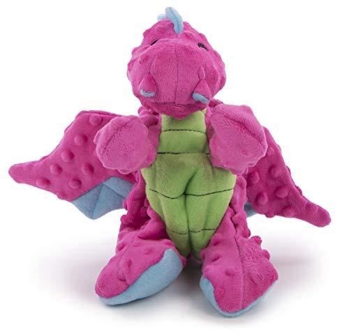 goDog Dragon With Chew Guard Technology Tough Plush Dog Toy, Pink, Large