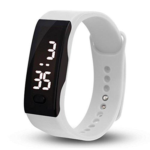 Malltop LED Watch, Unisex Rubber Bracelet White LED Digital Display Sports Wrist Gift Watch