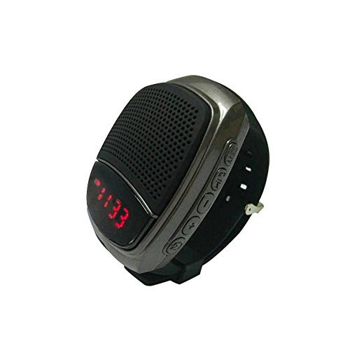 ETE Upgraded Multi-functional Bluetooth Watch Speaker: Mp3 Music Player, LED Display, Stopwatch, Alarm Clock, Hands-free Calls, FM Radio, Phone Anti-lost, TF Card Support, Self-timer, etc