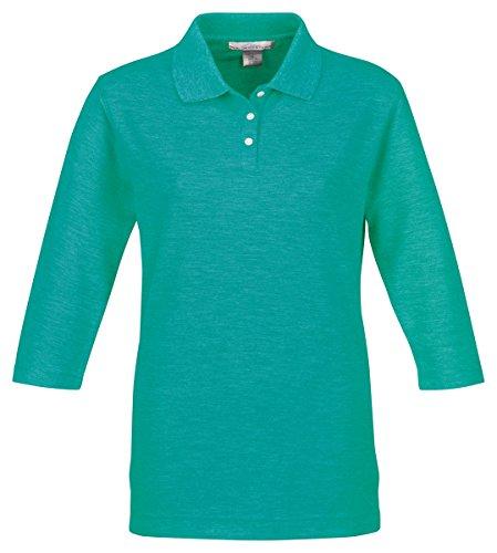Tri Mountain Women's 3/4-Sleeve Pique Knit Golf (3 Button Golf Shirt)