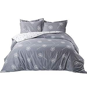Bedsure Dandelion Floral Cotton Duvet Cover Set Full/Queen Size Grey/White Reversible Comforter Cover Soft Bedding Sets 3 Pieces