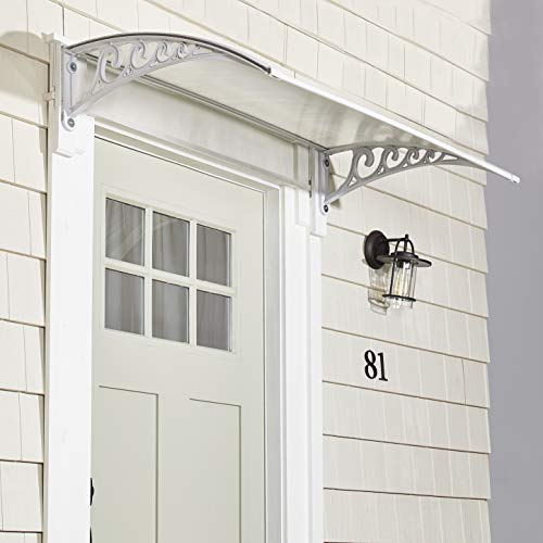 The Lakeside Collection Metal Window Awning Or Front Door Canopy - Sun Shade and Rain Blocker - White