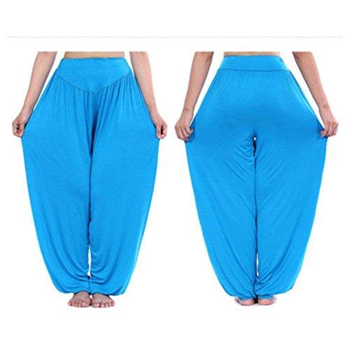 Baggy Donna Pantaloni Yoga Libero Harem Grazioso Cute Taille Pantaloni Multistrato Nahen Pantaloni Stile Chic Di Estivi Trousers See Modern Vita Pantaloni Sportivi Primaverile Tempo Elastica Lunga Blauer wOtqwrd