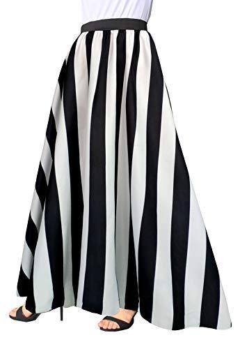 Afibi Women Chiffon Mopping Floor Length Big Hem Solid Beach High-Waist Maxi Skirt (Medium, Black 2)