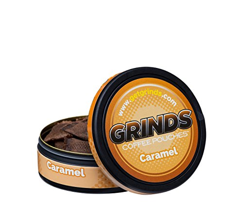 Grinds Coffee Pouches - 3 Cans - Caramel - Tobacco Free, Nicotine Free Healthy Alternative ()