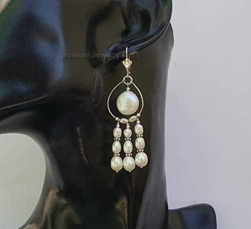 Long Dangle White Pearl Earrings, Freshwater Pearl Chandelier Earrings, Sterling Silver Pearl Earrings *Exp Shipping
