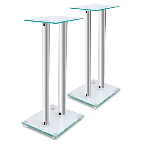 Price comparison product image Outdoor Indoor Office Furniture Standing Speaker,2 pcs Glass Speaker Stand (Each with 2 Silver Pillars) Audio Speaker Mounts With Four Round Spikes