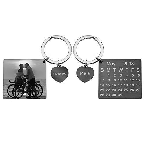 PESOENTH Personalized Photo Picture Keychain Eengraved Custom Calendar Date Stainless Steel Heart Dog Tag Pendant Key Chain Ring for Men Women