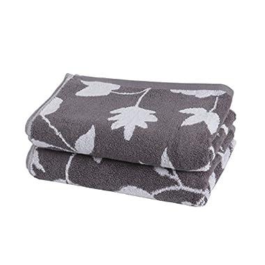 STAR Grade Absorbent Leaf Design Hand Towels 2-pack (Gray)