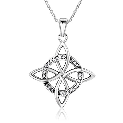 Furious Jewelry 925 Sterling Silver Celtic Four Corner Knot Good Luck Pendant Necklace, Rolo Chain 18