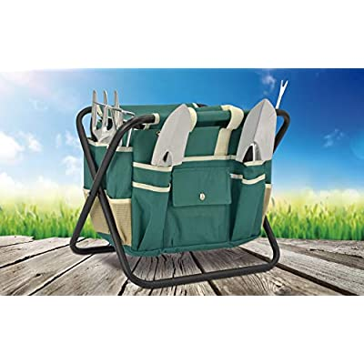 -Eternal- Garden Ideas 7 Pcs Garden Tool Set with Bag and Folding Seat Heavy Duty Canvas Storage Organizer, Ergonomic Hand Digging Weeder, Rake, Shovel : Garden & Outdoor