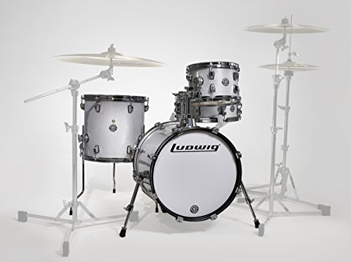 (Ludwig LC179X028 Breakbeats 4 Piece Shell Pack with Riser, White Sparkle)