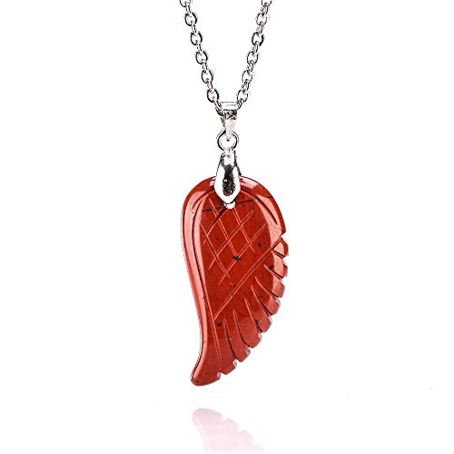 """Natural Gemstone Handmade Carved Angel Wing Reiki Healing Chakra Pendant Match Stainless Steel Necklaces 20"""" (Flame jasper)"""