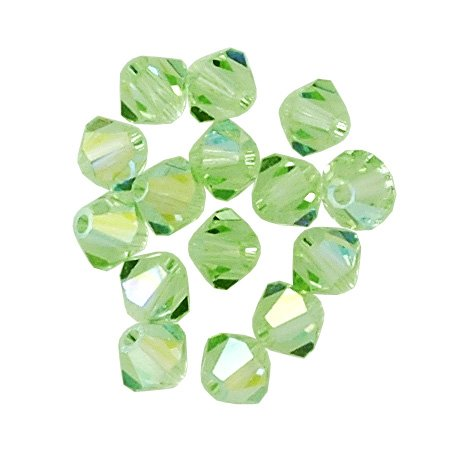 Crystal 4mm Swarovski Chrysolite (100 pcs 4mm Swarovski 5301 Crystal Bicone Beads, Chrysolite AB, SW-5301)