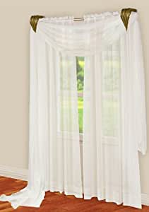 Elegance Sheer Curtain Panel 60 39 39 X 84 39 39 Long White Home Kitchen