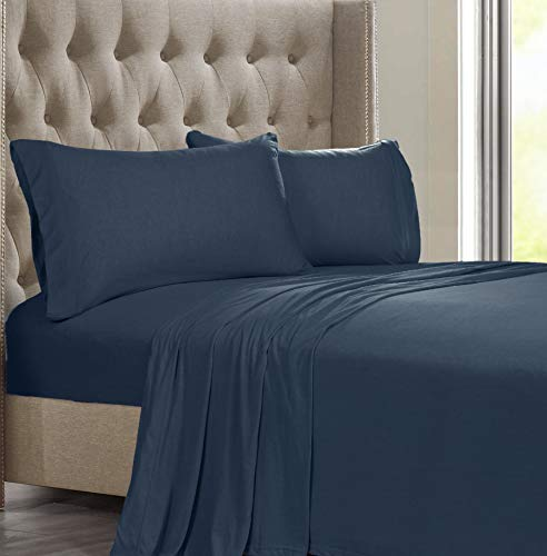 - Posh Home Jersey Knit Ultra Soft Cotton T-Shirt Comfortable Breathable Cooling Unisex Cozy All-Season Bed Queen Sheet Set (Queen, Navy)