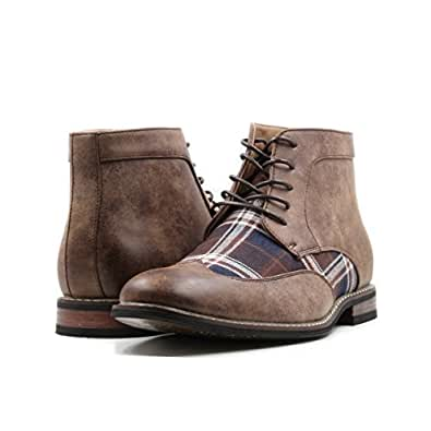 Stylish & Comfort Men's Lace Up Plaid Oxford Wing Tip Dress Classic Formal Ankle Shoes Brown Size: 6.5