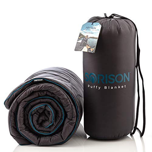 SORISON Synthetic Puffy Down 30 Degree Camping Quilt, Top Quilt and Stadium Blanket for Cold Weather