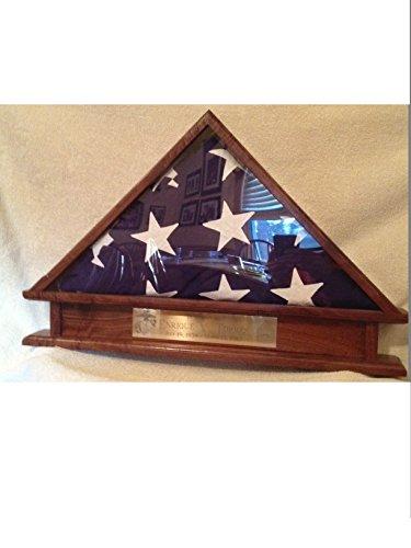 Pedestal Memorial (Memorial/Veteran Casket Burial Flag Display with Built in pedestal and Engraving plaque)