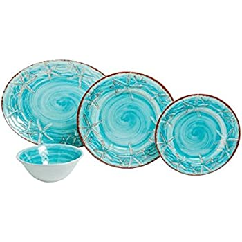 Galleyware Blue Raised Starfish 13-Piece Melamine Dinnerware Set Service for 4 with Platter  sc 1 st  Amazon.com & Amazon.com | Galleyware Classic White Raised Starfish 14-Piece ...