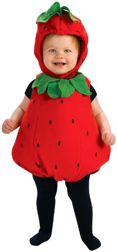 [Rubie's Costume Newborn Deluxe Berry Cute Costume, Red/Green, Infant] (Strawberry Halloween Costumes)