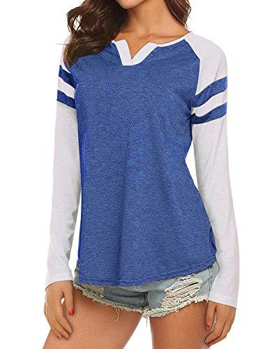 Womens Casual Raglan Long Sleeve T-Shirt Loose Blouse Henley V Neck Baseball Tee Shirt Tops Blue